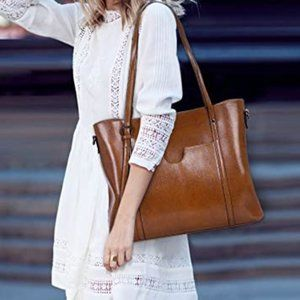 Women Genuine Leather Top Handle Satchel